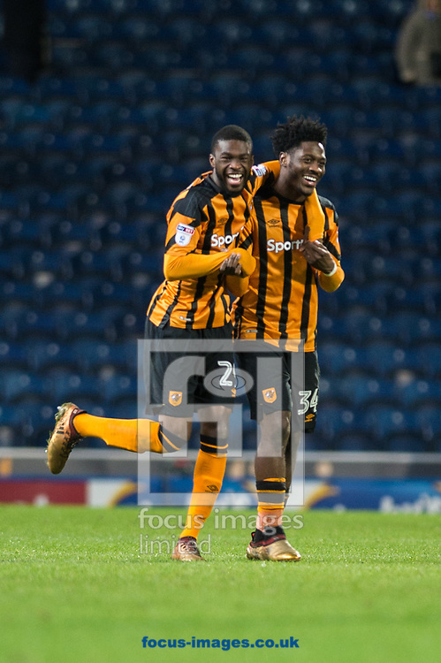 Fikayo Tomori (left) and Ola Aina of Hull City celebrate following the FA Cup match at Ewood Park, Blackburn<br /> Picture by Matt Wilkinson/Focus Images Ltd 07814 960751<br /> 06/01/2018