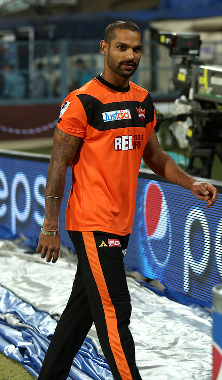 Sunrisers Hyderabad captain Shikhar Dhawan before the start of the match 38 of the Pepsi IPL 2015 (Indian Premier League) between The Kolkata Knight Riders and The Sunrisers Hyderabad held at Eden Gardens Stadium in Kolkata, India on the 4th May 2015.<br /> <br /> Photo by:  Sandeep Shetty / SPORTZPICS / IPL