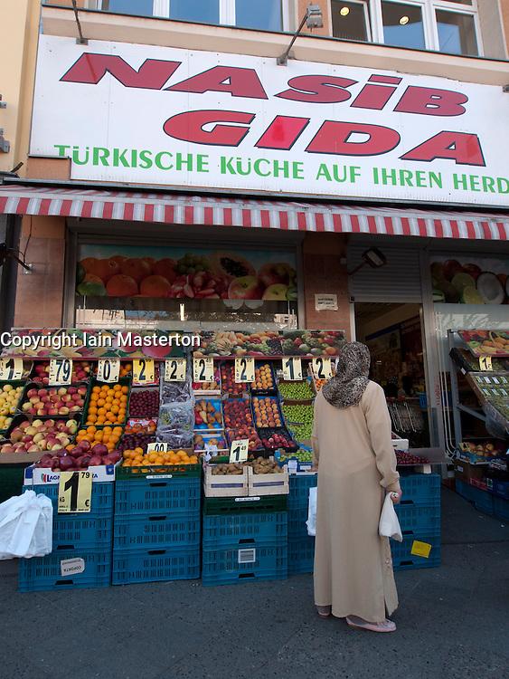 Fruit and vegetable green grocer shop in Turkish part of Kreuzberg in Berlin Germany