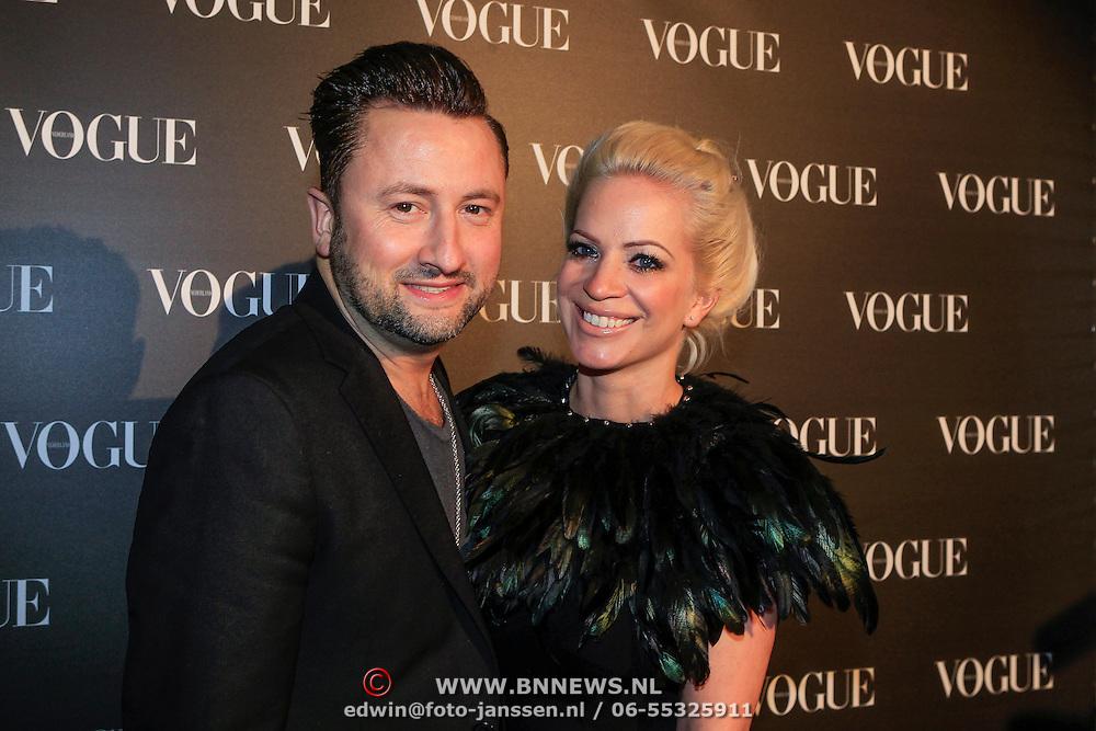 NLD/Amsterdam/20130314 - 1 jarig bestaan magazine Voque Nederland , Dennis Weening en partner Stella Maassen