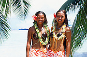 Young Polynesian women, Tuamotus, French Polynesia