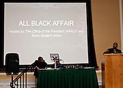 Ohio University President Roderick J. McDavis, right, speaks at the All Black Affair at Baker University Center Ballroom at Ohio University on Friday, January 29, 2016. © Ohio University / Photo by Sonja Y. Foster
