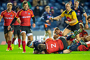 Simon Berghan (#3) of Edinburgh Rugby scores a try during the Guinness Pro 14 2018_19 rugby match between Edinburgh Rugby and Isuzu Southern Kings at the BT Murrayfield Stadium, Edinburgh, Scotland on 5 January 2019.