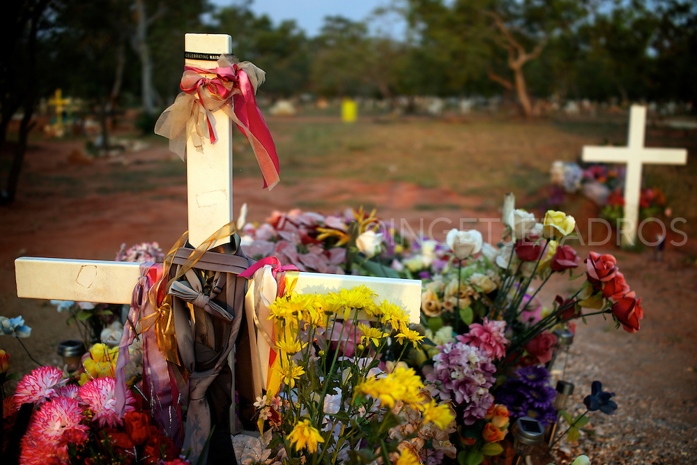 Broome has 2 cemeteries next to each other, one is the Japanese cemetery and this is the local (Aboriginal) Cemetery.<br /> The Japanese cemetery is nowadays a tourist attraction but this local cemetery is unique on it's own.<br /> I find myself walking through this cemetery at sunset sometimes and i fee this is a unique place where every grave seems very personal.<br /> Broome, Western Australia 2013<br /> &copy;Ingetje Tadros