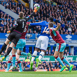 Burnley goalkeeper Thomas Heaton (1) punches clear in the Premier League match between Everton and Burnley<br /> (c) John Baguley | SportPix.org.uk