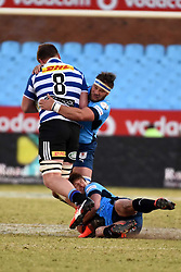 Jacques Vermeulen is tackled during the Absa Currie Cup match between the Blue Bulls and DHL Western Province held at Loftus Versfeld stadium, Pretoria, South Africa on the 5th August 2016Photo by:   Real Time Images