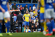 Leeds United midfielder Kemar Roofe (7)  waits to come on during the EFL Sky Bet Championship match between Birmingham City and Leeds United at St Andrews, Birmingham, England on 6 April 2019.