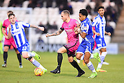 Hartlepool player Lewis Alessandra looks for space n the second half during the EFL Sky Bet League 2 match between Colchester United and Hartlepool United at the Weston Homes Community Stadium, Colchester, England on 25 February 2017. Photo by Ian  Muir.