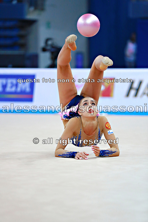 Margarita Mamun of Russia competes during the rhythmic gymnastics individual ball qualification of the World Cup at Adriatic Arena on April 1, 2016 in Pesaro, Italy. Margarita was born 1 November 1995 in Moscow, she is a retired Russian individual rhythmic gymnast.<br /> In Rio Olympic games 2016 won the gold medal in All-around.