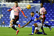 Birmingham City midfielder David Davis (26) tackles Sunderland midfielder Ethan Robson (28) 0-0 during the EFL Sky Bet Championship match between Birmingham City and Sunderland at St Andrews, Birmingham, England on 30 January 2018. Photo by Alan Franklin.