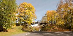 Arched Old Devil`s Bridge in Autumn, Tartu, Estonia