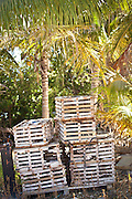 Lobster traps at the harbor at Stock Island, Key West, Florida.