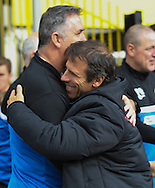 Picture by David Horn/Focus Images Ltd +44 7545 970036<br /> 28/09/2013<br /> Gianfranco Zola Manager of Watford and Owen Coyle Manager of Wigan Athletic greet before the Sky Bet Championship match at Vicarage Road, Watford.