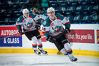 KELOWNA, CANADA - APRIL 14: Kole Lind #16 of the Kelowna Rockets warms up against the Portland Winterhawks on April 14, 2017 at Prospera Place in Kelowna, British Columbia, Canada.  (Photo by Marissa Baecker/Shoot the Breeze)  *** Local Caption ***
