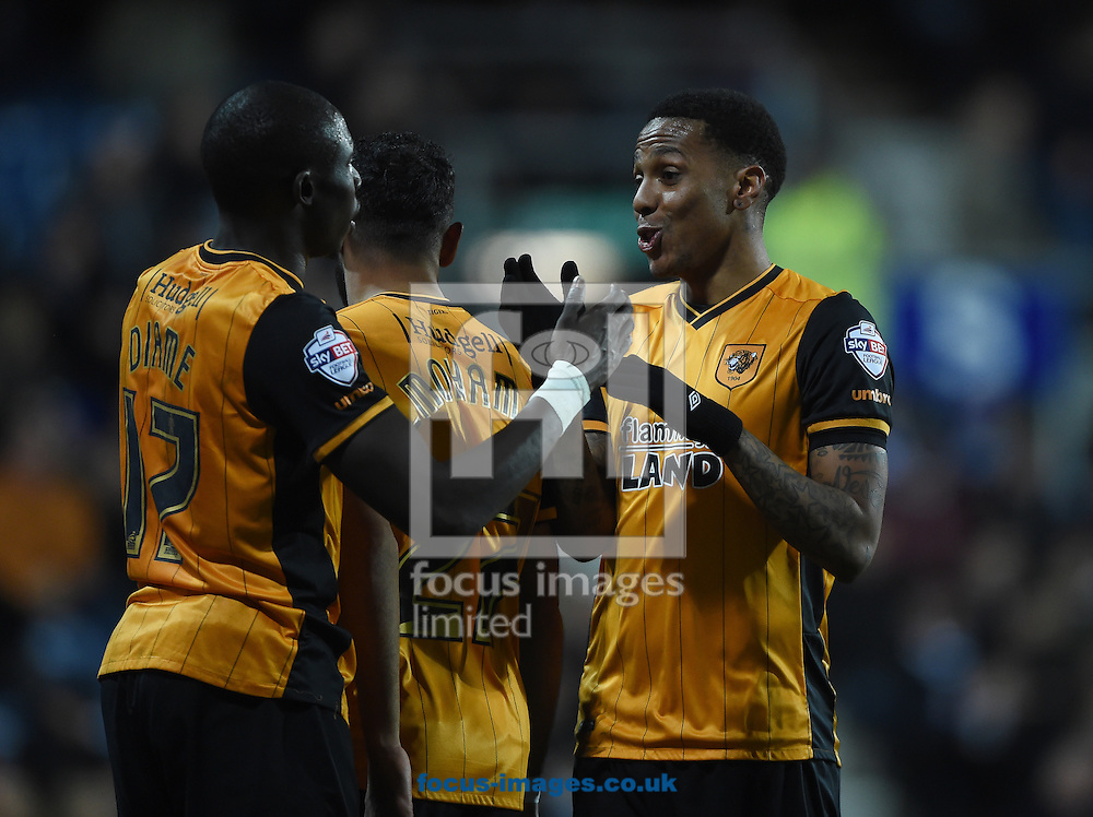 Hull City's Abel Hernandez (right) celebrates scoring their first goal with team mate Mohamed Diame during the Sky Bet Championship match at the Loftus Road Stadium, London<br /> Picture by Daniel Hambury/Focus Images Ltd +44 7813 022858<br /> 01/01/2016