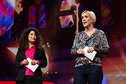 Hosts Chee Pearlman and Helen Walters speak at TED2019: Bigger Than Us. April 15 - 19, 2019, Vancouver, BC, Canada. Photo: Bret Hartman / TED