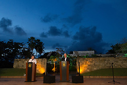 August 13, 2017 - Cartagena, Colombia - U.S. Vice President Mike Pence during a joint press conference with Colombian President Juan Manuel Santos August 13, 2017 in Cartagena, Colombia. Pence vowed to increase pressure on Venezuela and work with Colombia government to isolate the government of President Nicolas Maduro. (Credit Image: © Myles Cullen/Planet Pix via ZUMA Wire)