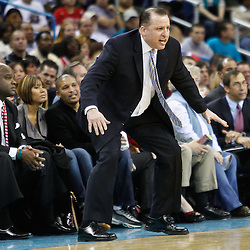 February 12, 2011; New Orleans, LA, USA; Chicago Bulls head coach Tom Thibodeau against the New Orleans Hornets during the fourth quarter at the New Orleans Arena.  The Bulls defeated the Hornets 97-88. Mandatory Credit: Derick E. Hingle