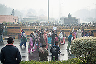 23rd Dec. 2012. Demonstrators march in front of police lines in reaction to the gang-rape of a young medical student in the Indian capital.