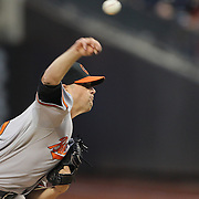 Pitcher Bud Norris, Baltimore Orioles, pitching during the New York Mets Vs Baltimore Orioles MLB regular season baseball game at Citi Field, Queens, New York. USA. 5th May 2015. Photo Tim Clayton
