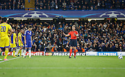 Oscar sets himself to strike goal wards from the penalty spot during the Champions League match between Chelsea and Maccabi Tel Aviv at Stamford Bridge, London, England on 16 September 2015. Photo by Andy Walter.