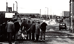 Picketting miners taunt scab as he goes into work during miners strike 1984; Brenkley Colliery; Northumberland; UK