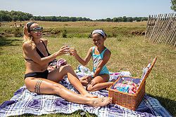 © Licensed to London News Pictures. 23/06/2020. London, UK. Kaylea Power, 29 and her daughter Andrianna, 8 celebrate her 8th birthday in the sunshine in Richmond Park in South West London with a picnic as forecasters predict a hot week ahead with temperatures expected to reach over 30c. Prime Minister, Boris Johnson announces that tourism and hospitality including pubs, restaurants and campsites can now reopen from the 4th of July as well as reducing the 2 metre rule to 1 metre.  Photo credit: Alex Lentati/LNP