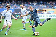 Alexander Ring of New York City FC is defended by Florian Jungwirth of San Jose Earthquakes during a MLS soccer game, Saturday, Sept. 14, 2019, in New York.NYCFC defeated San Jose Earthquakes 2-1.(Errol Anderson/Image of Sport)