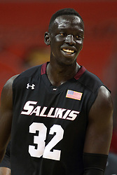 25 February 2015:  Deng Leek pulls out a big smile after a dunk  during an NCAA MVC (Missouri Valley Conference) men's basketball game between the Southern Illinois Salukis and the Illinois State Redbirds at Redbird Arena in Normal Illinois