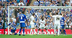 LONDON, ENGLAND - Saturday, May 30, 2011: Swansea City's Nathan Dyer celebrates winning a penalty against referee Viktor Kassai during the Football League Championship Play-Off Final match at Wembley Stadium. (Photo by David Rawcliffe/Propaganda)