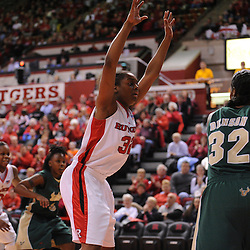 Jan 31, 2009; Piscataway, NJ, USA; Rutgers forward Brooklyn Pope (32) defends South Florida center Brittany Denson (32) on an inbounding play during the closing minutes of South Florida's 59-56 victory over Rutgers in NCAA women's college basketball at the Louis Brown Athletic Center