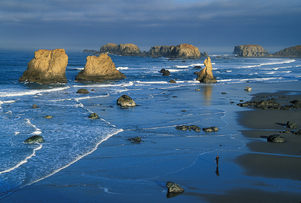 Bandon beach and sea stacks from Face Rock State Wayside, with woman walking on beach; Bandon, southern Oregon coast.