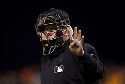 SAN FRANCISCO, CA - APRIL 14:  MLB umpire Brian Gorman #9 stands behind home plate during the third inning at AT&T Park on April 14, 2015 in San Francisco, California.  The Colorado Rockies defeated the San Francisco Giants 4-1. (Photo by Jason O. Watson/Getty Images) *** Local Caption *** Brian Gorman
