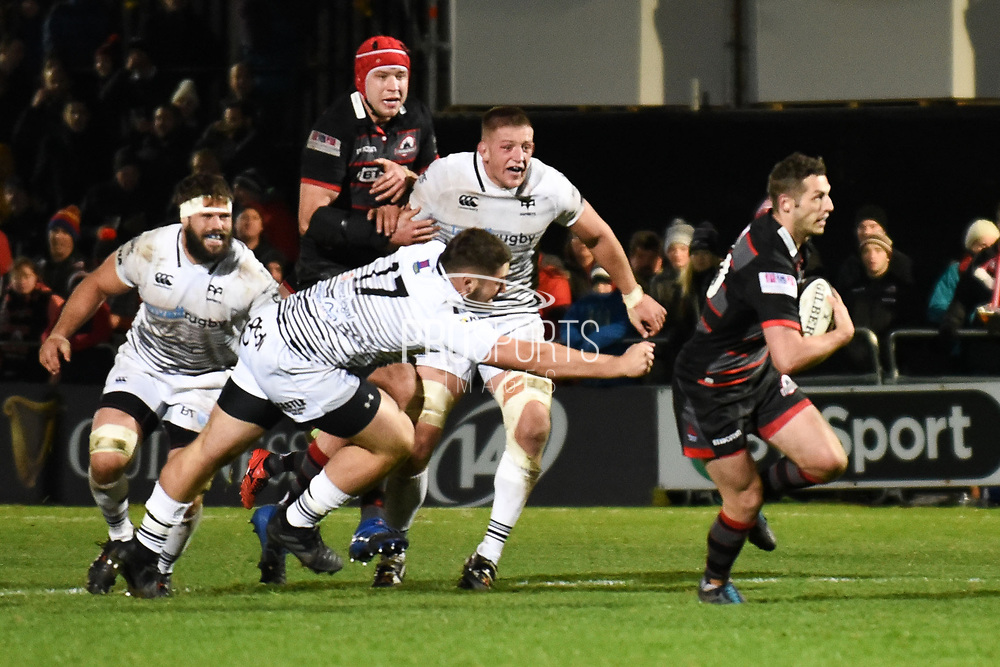Jason Tovey breaks free to score try during the Guinness Pro 14 2017_18 match between Edinburgh Rugby and Ospreys at Myreside Stadium, Edinburgh, Scotland on 4 November 2017. Photo by Kevin Murray.