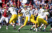 BLOOMINGTON, IN - OCTOBER 30: Tom Brady #10 of the Michigan Wolverines passes the football against the Indiana Hoosiers at the Memorial Stadium on October 30, 1999 in Bloomington, Indiana. Michigan defeated Indiana 34-31. (Photo by Joe Robbins) *** Local Caption *** Tom Brady