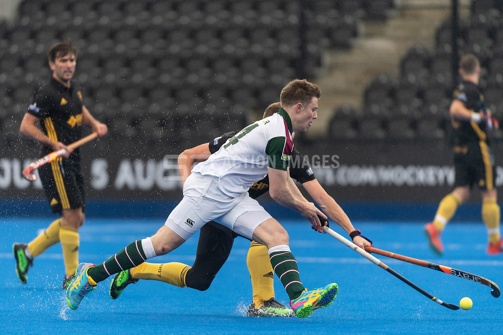 Surbiton's Sam Spencer. Surbiton v Beeston - Men's Hockey League Finals, Lee Valley Hockey & Tennis Centre, London, UK on 28 April 2018. Photo: Simon Parker