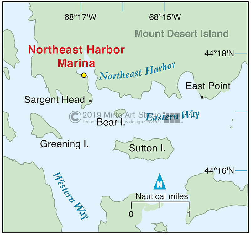 Vector map of Northeast Harbor, Manie marina