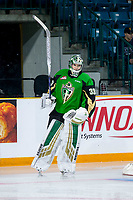 KAMLOOPS, CANADA - NOVEMBER 5: Ian Scott #33 of Team WHL (Prince Albert Raiders) warms up against the Team Russia  on November 5, 2018 at Sandman Centre in Kamloops, British Columbia, Canada.  (Photo by Marissa Baecker/Shoot the Breeze)