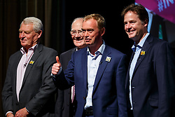 © Licensed to London News Pictures. 07/06/2016. London, UK. Former Liberal Democrat leaders PADDY ASHDOWN, MENZIES CAMPBELL and NICK CLEGG join current Liberal Democrat leader TIM FARRON (C) at a Q&A session on EU referendum in central London on 7 June 2016. Photo credit: Tolga Akmen/LNP