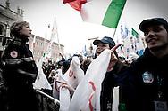 Roma 20.03.2010 Italy - Manifestazione del Popolo delle Libertà voluta da Silvio Berlusconi. Nella Foto: I manifestanti in Piazza San Giovanni. Foto Giovanni Marino