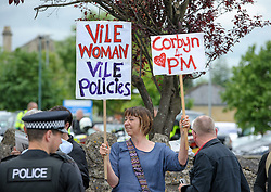 © Licensed to London News Pictures.  31/05/2017; Bath, UK. General Election 2017; Protestors including anti-Brexit/pro-Remain campaigners shout as leader of the Conservative Party and Prime Minister Theresa May visits Cross manufacturing company in Midford Road, Bath. Picture credit : Simon Chapman/LNP