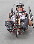 Middletown, New York - A wheelchair racer nears the finish line in the 16th annual Ruthie Dino-Marshall 5K Run/Walk put on by the Middletown YMCA on Sunday, June 10, 2012.