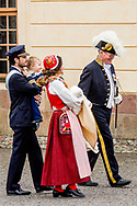 Prince Daniel, Duke of Vastergotland, Princess Estelle, Duchess of Ostergotland, Victoria, Crown Princess of Sweden and Prince Oscar, Duke of Skane leave the chapel after the christening of Prince Gabriel of Sweden after the christening of Prince Gabriel of Sweden at Drottningholm Palace julia brabander Prins Daniel, Hertog van Vastergotland, Prinses Estelle, Hertogin van Ostergotland, Victoria, Kroonprinses van Zweden en Prins Oscar, Hertog van Skane verlaten de kapel na de doop van Prins Gabriël van Zweden na de doop van Prins Gabriël van Zweden in Drottningholm Paleis julia brabander
