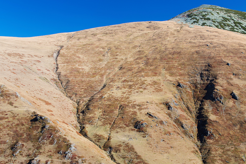 Barren slopes of the Tarcu Mountains Natura 2000 site, close to the peak of Mount Tarcu (Vârful Țarcu: 2.291 m). Southern Carpathians, Munții Ṭarcu, Caraș-Severin, Romania.