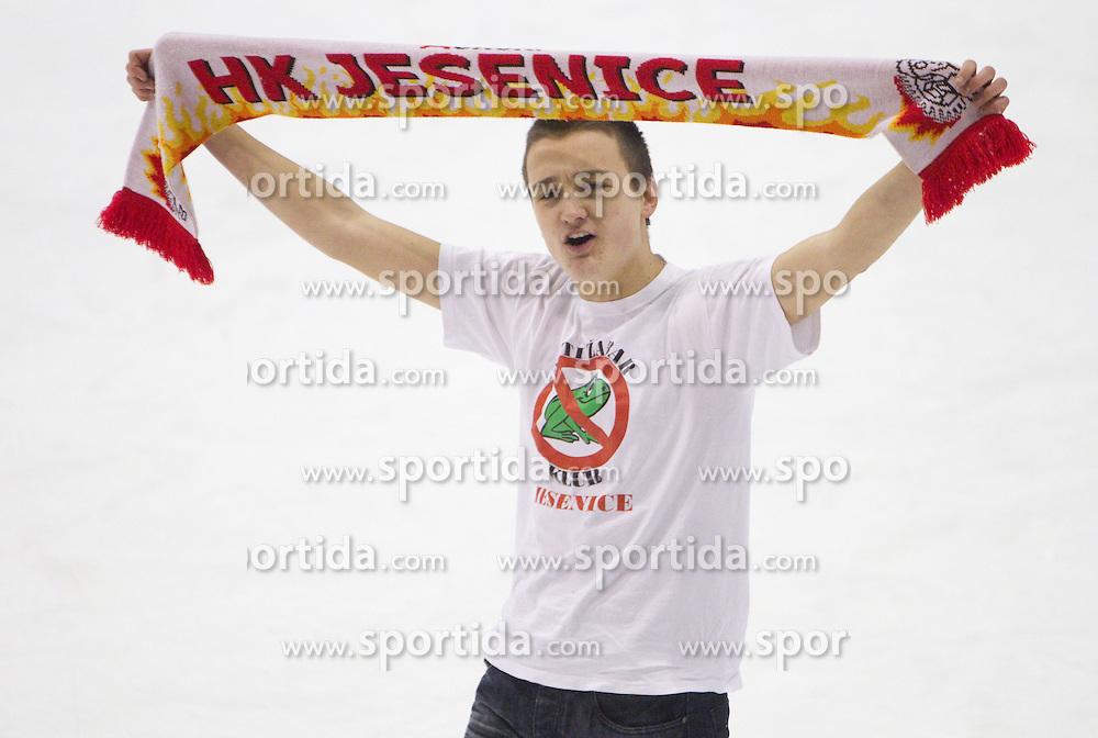Fan of Jesenice after winning the ice hockey match between HK Acroni Jesenice and  HDD Tilia Olimpija Ljubljana at 33rd Round of EBEL league, on January 1, 2011 in Arena Podmezakla, Jesenice, Slovenia. Acroni Jesenice defeated Tilia Olimpija 5-1. (Photo By Vid Ponikvar / Sportida.com)