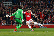 Olivier Giroud of Arsenal (right) shoots only to see his shot blocked by Tim Krul of Newcastle United during the Barclays Premier League match at the Emirates Stadium, London<br /> Picture by David Horn/Focus Images Ltd +44 7545 970036<br /> 28/04/2014