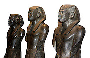 Black granite statues of Pharaoh Sesostris III. 12th dynasty, circa 1850 BC. Originally from Deir el-Bahri, now at the British Museum.