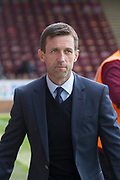 28th April 2018, Fir Park, Motherwell, Scotland; Scottish Premier League football, Motherwell versus Dundee; Dundee manager Neil McCann