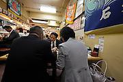 inside sushi restaurant at Tsukiji fish market Tokyo, Japan.