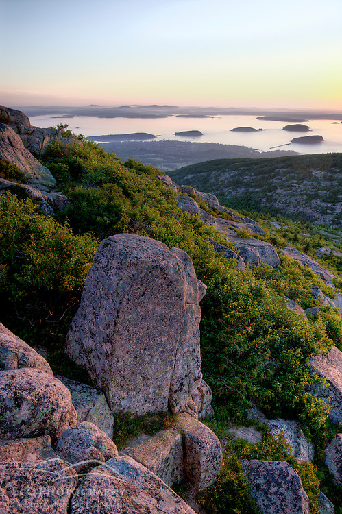 Frenchman Bay and the Porcupine Islands as seen from Cadillac Mountain in Maine's Acadia National Park.